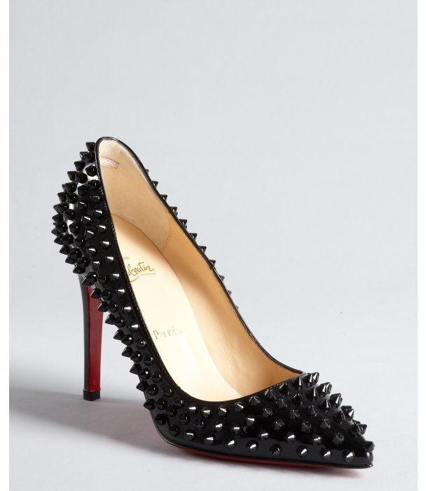 Christian Louboutin black patent leather spiked 'Pigalle 100' pumps