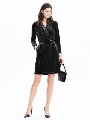 Long-Sleeve Velvet Wrap Dress $148 thestylecure.com