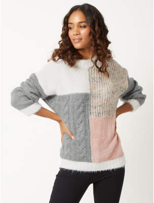 Grey Colour Block Textured Knitted Jumper