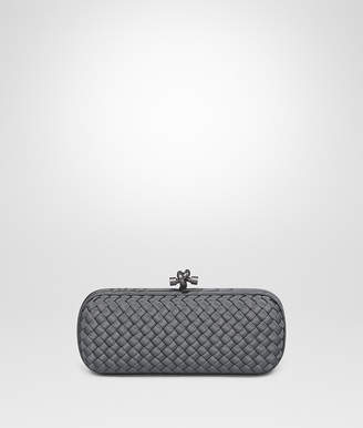Bottega Veneta MEDIUM GREY INTRECCIATO FAILLE MOIRE STRETCH KNOT