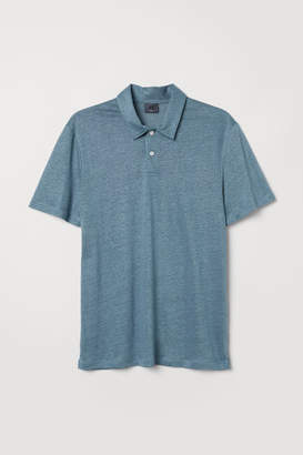 H&M Linen-blend Polo Shirt - Blue