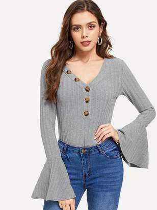 Shein Button Front V-Neck Bell Sleeve Tee