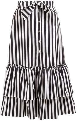 Caroline Constas Striped tie-waist cotton midi skirt