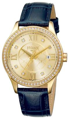 Ferré Milano Women's Embossed Leather & Stainless Steel Watch, 36mm