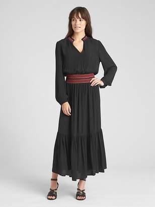 Gap Long Sleeve Smocked Maxi Dress