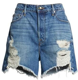 Good American Bombshell High Waist Cutoff Denim Shorts