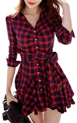 FCYOSO Lady Retro Long Sleeve Plaid Lapel V Neck Skirt Belted Shirt Dress