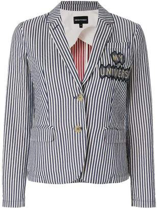 Emporio Armani patch-appliqué striped blazer