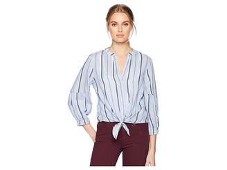 Michael Stars Stripe Shirting Tie Front Top Women's Clothing