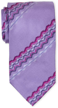 Missoni Purple Line Print Silk Tie