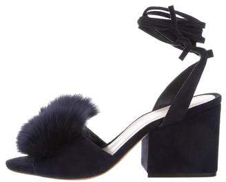 Loeffler Randall Nicky Fur-Accented Sandals w/ Tags