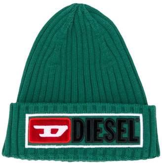 Diesel logo ribbed beanie