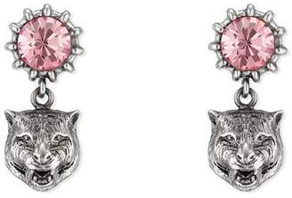 Gucci Crystal stud earrings with feline head