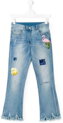 MonnaLisa Teen embellished frayed jeans