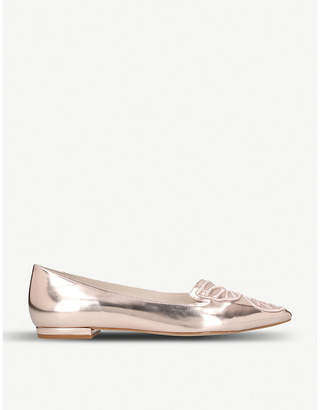 Sophia Webster Bibi Butterfly embroidered metallic leather pointed-toe flats