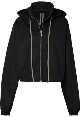 Rick Owens Cropped Hooded Cotton-canvas Jacket - Black