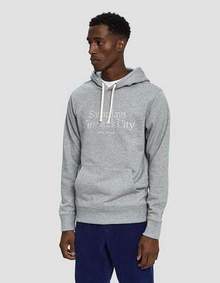Saturdays NYC Ditch Miller Standard Embroidered Hoodie in Ash Heather