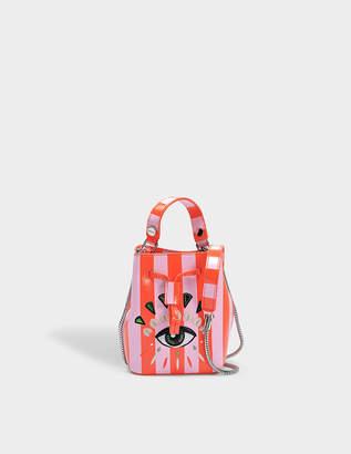 Kenzo Icon Mini Bucket Bag in Red Split Leather