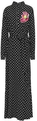 Dolce & Gabbana Appliqued Polka-dot Stretch-silk Maxi Shirt Dress