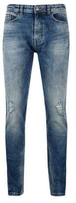 Burton Mens Mid Blue Hyper Stretch Ethan Super Skinny Fit Jeans