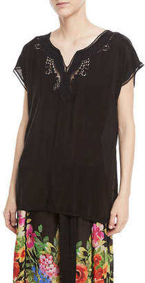Johnny Was Plus Size Navi Embroidered Top