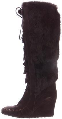 CelineCéline Fur-Trimmed Wedge Boots