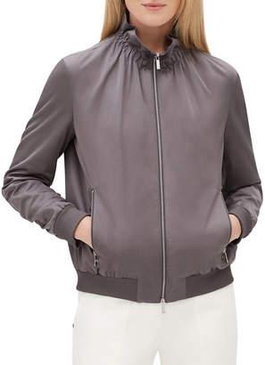 Lafayette 148 New York Kiki Zip-Front Long-Sleeve Urbane Satin Jacket w/ Ribbed Cuffs & Hem