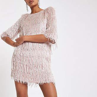 River Island Light pink sequin fringe swing dress