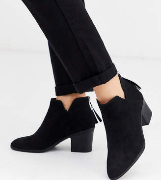New Look Wide Fit low cut heeled ankle boots in black