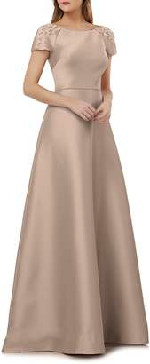 Kay Unger Embellished Sleeve Stretch Mikado Gown