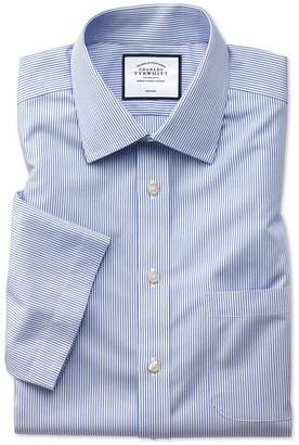 Charles Tyrwhitt Classic Fit Non-Iron Blue Stripe Natural Cool Short Sleeve Cotton Dress Shirt Size 15/Short