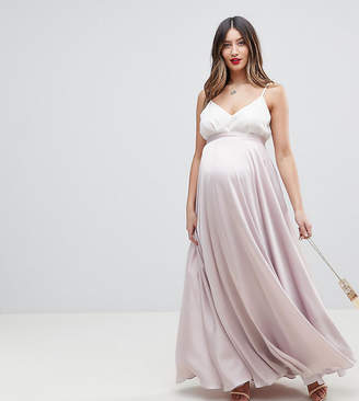 Asos DESIGN Maternity satin maxi skirt with centre front split