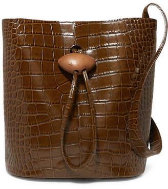 REJINA PYO - Naomi Embellished Croc-effect Leather Tote - Brown
