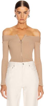 Enza Costa for FWRD Rib Exposed Shoulder Zip Front Long Sleeve in Sandstone   FWRD
