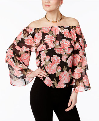 INC International Concepts Floral-Print Off-The-Shoulder Top, Only at Macy's $69.50 thestylecure.com