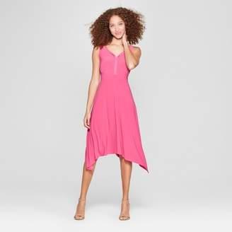 Notations Women's Braided Trim Handkerchief Maxi Dress Pink