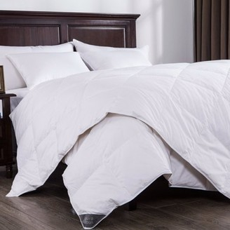 Pure Down Puredown Lightweight White Down Comforter Light Warmth Duvet Insert 100% Cotton 550 Fill Power, Full/Queen Size, White