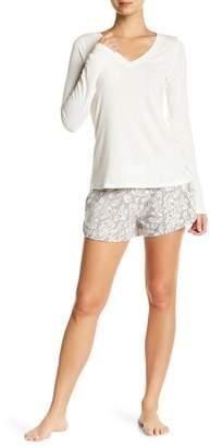 Maidenform Ribbed Knit Tee & Fleece Shorts PJ Set