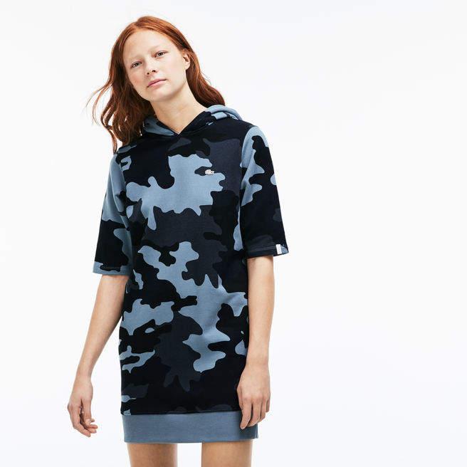 Damen-Sweatshirtkleid aus Fleece mit Kapuze L!VE