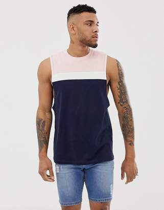 Asos Design DESIGN relaxed sleeveless t-shirt with dropped armhole and colour block in navy