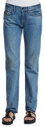 Helmut Lang Relaxed Raw-Edge Jeans, Light Blue $310 thestylecure.com