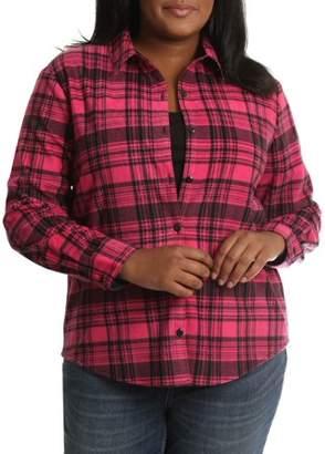 Lee Riders Women's Plus Long Sleeve Knit Fleece Shirt
