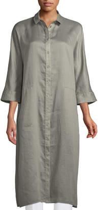 Lafayette 148 New York Sally Gemma Cloth 3/4-Sleeve Long Duster Jacket