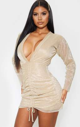 PrettyLittleThing Gold Metallic Plisse Ruched Front V Plunge Bodycon Dress