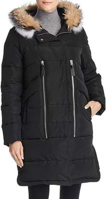 Derek Lam 10 Crosby Hooded Fox Fur Trim Mixed Media Down Coat