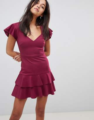 Asos Scuba Mini V Neck Dress with Ruffles