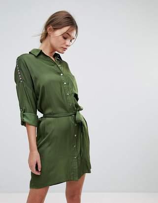 Liquorish Belted Shirt Dress