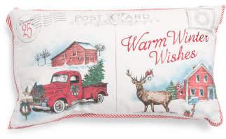 14x24 Christmas Farm Postcard Pillow