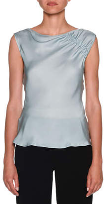 Giorgio Armani Ruched-Shoulder Sleeveless Silk Blouse, Aquamarine