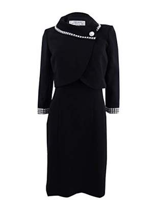 Tahari by Arthur S. Levine Women's Crepe Jacket Dress with Fold Over Collar